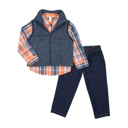Toddler Boy Polar Fleece Vest, Woven Button-up Shirt & Jeans 3pc Outfit Set - Leia Outfits