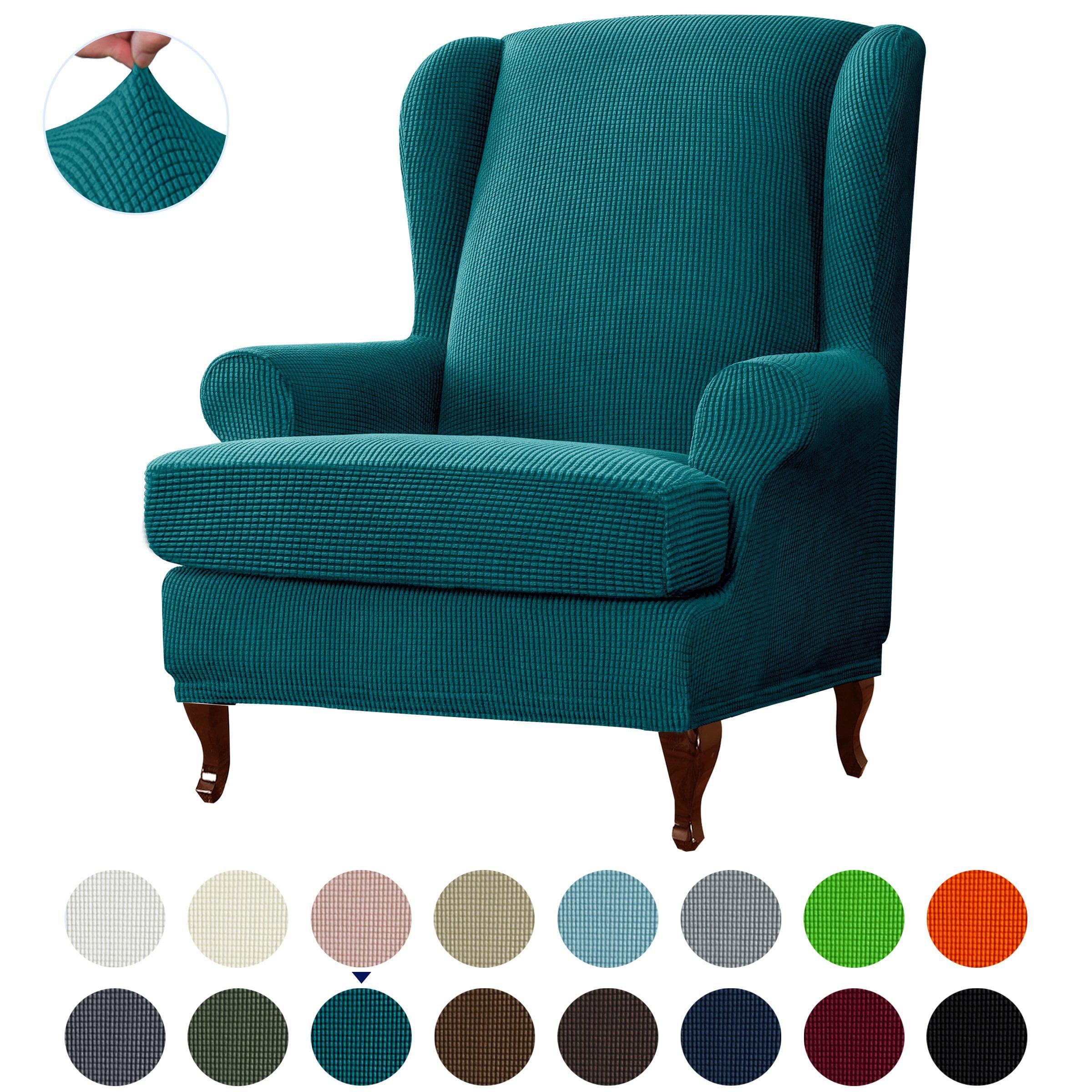 Picture of: Subtrex Stretch 2 Piece Textured Grid Wingback Chair Slipcover Orange Walmart Com Walmart Com