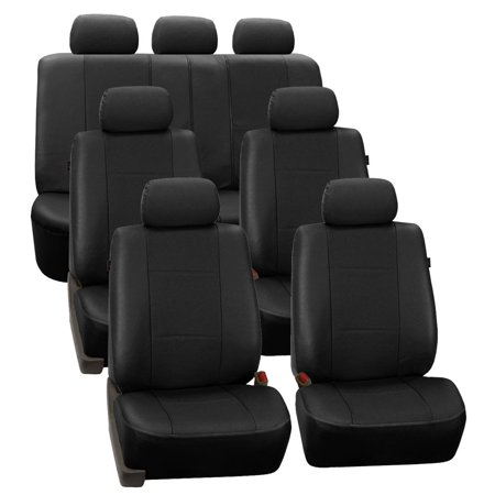 FH Group Black Deluxe Faux Leather Airbag Compatible and Split Bench Car Seat Covers, 7 Seater 3 Row Full Set
