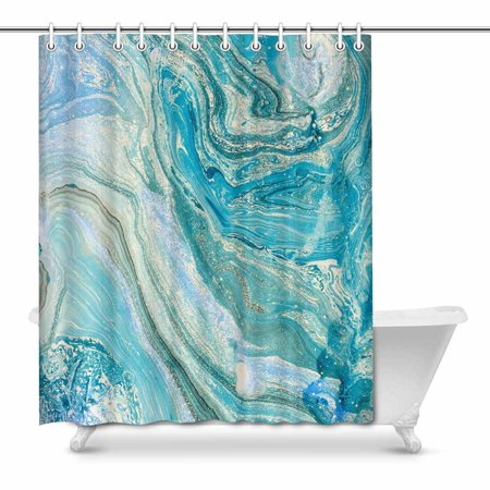 YUSDECOR Luxury Blue Stone Abstract Oil Painted Waves Waterproof Shower Curtain Decor Fabric Bathroom Set 66x72 inch - image 1 of 1