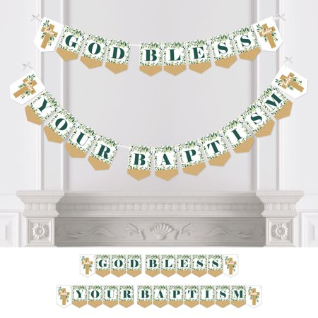 Baptism Banner (Baptism  Elegant Cross - Religious Baby Shower Bunting Banner - Party Decorations - Welcome)