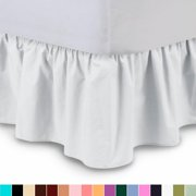 "The Great American Store's 1800 Series Brushed Microfiber 21"" Drop Ruffle Bed Skirt (Queen, White) Bed Wrap with Platform - Easy Fit Gathered Style 3 Sided Coverage"