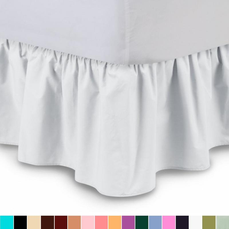 """The Great American Store's 1800 Series Brushed Microfiber 21"""" Drop Ruffle Bed Skirt (Queen, White) Bed Wrap with Platform - Easy Fit Gathered Style 3 Sided Coverage"""