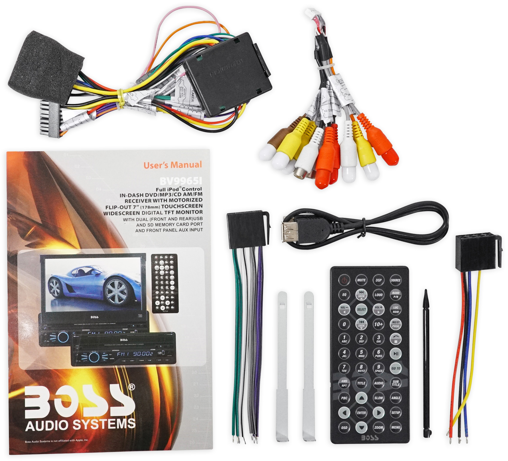 Boss Bv9965i Wiring Harness Simple Diagram Detailed V Plow 1 Din 7 In Dash Monitor Dvd Cd Am Fm Receiverusbsd Snow Installation