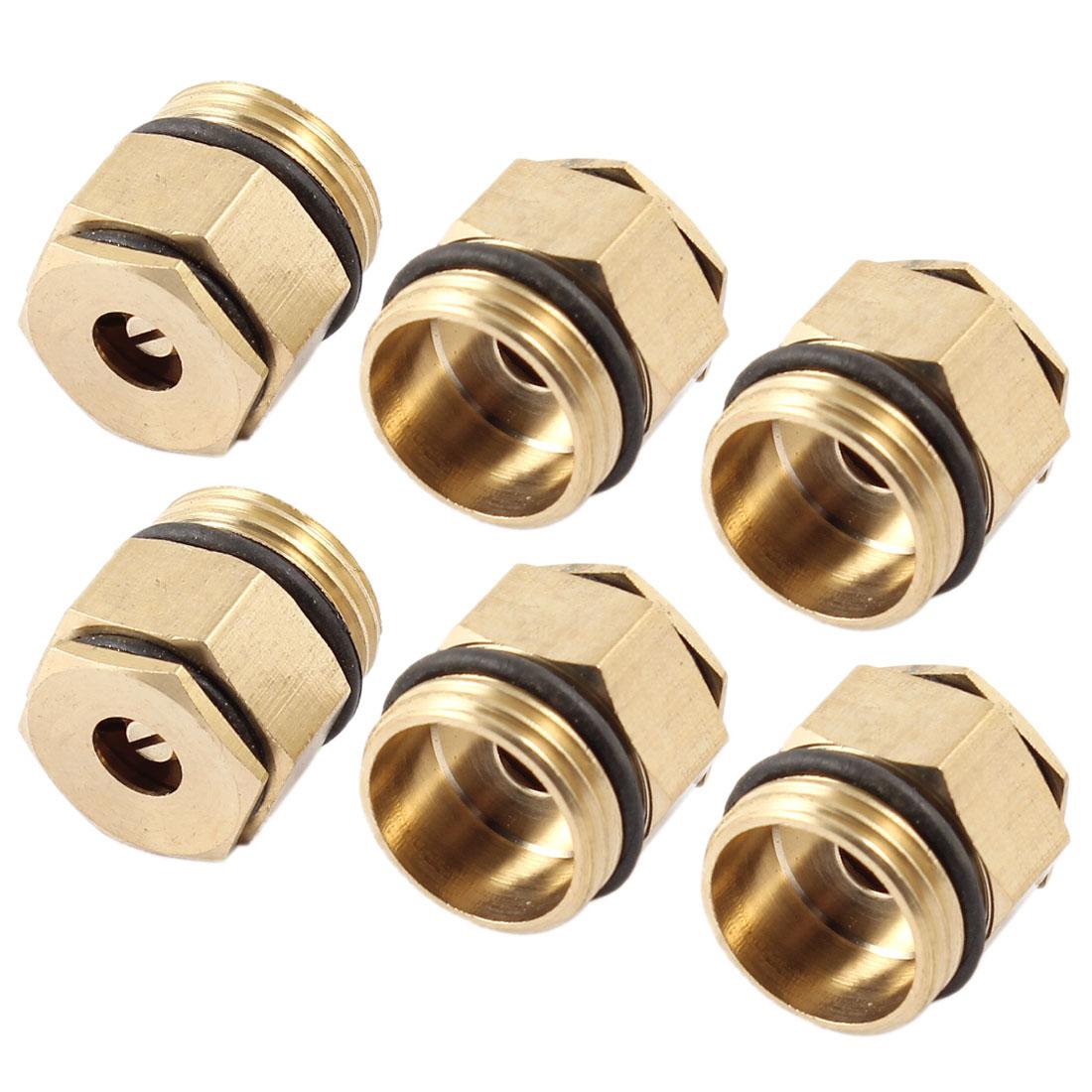 Unique Bargains 6 Pieces Gold Tone Brass 1/2 PT Male Thread Water Lawn Spray Sprayer Nozzle
