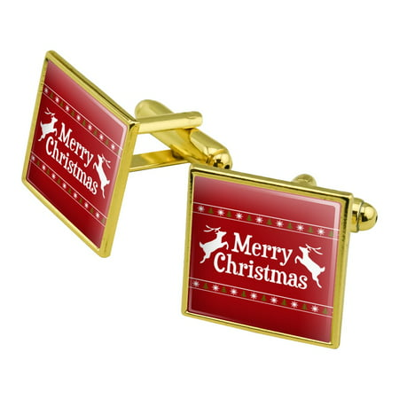 Merry Christmas Holiday Reindeer Square Cufflink Set Gold Color ()