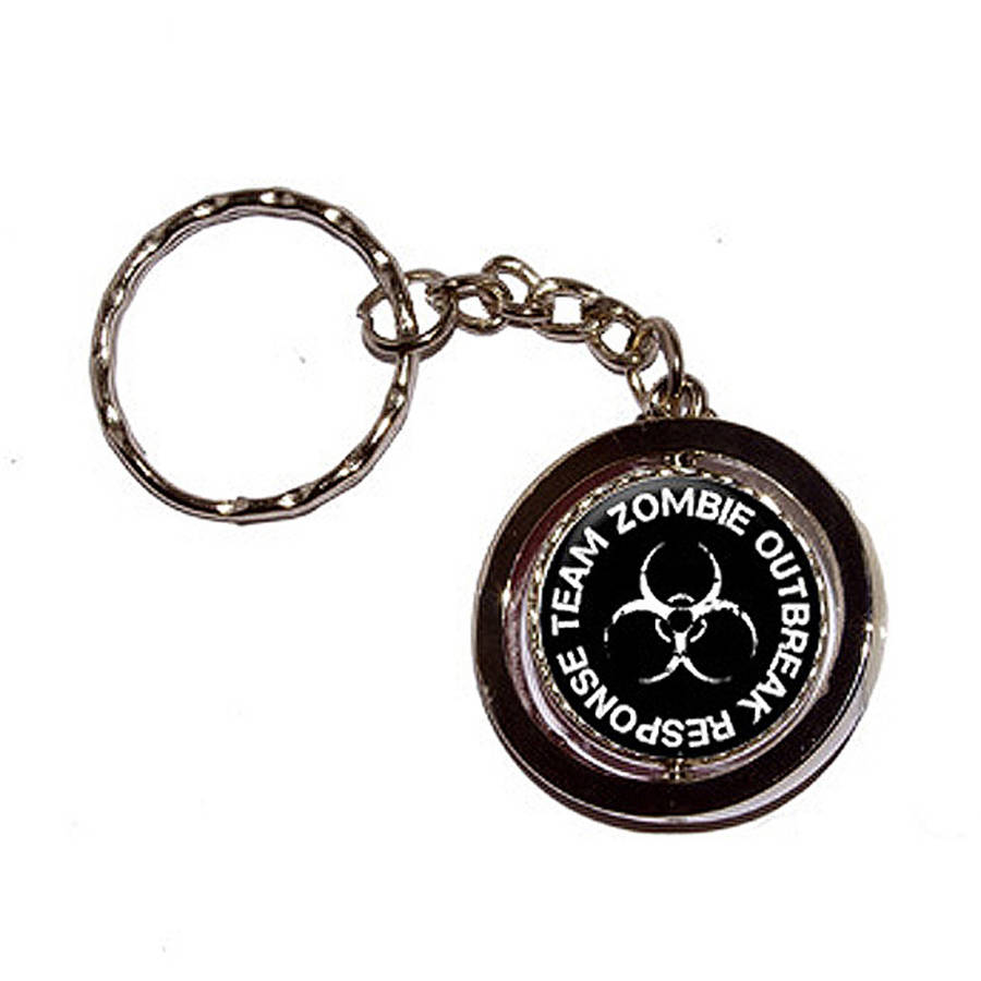 Zombie Outbreak Response Team  White On Black Key Chain Keychain Ring