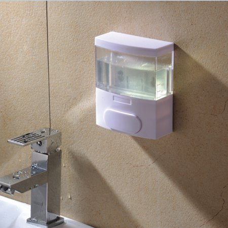 Leadingstar Plastic Big Spring Soap Dispenser Manual Wall Mounted Hand Sterilizer Liquid Box Bathroom Pump,White