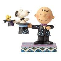 Peanuts Jim Shore Charlie Brown Snoopy & Woodstock Top Hat Magician Figurine #6001294