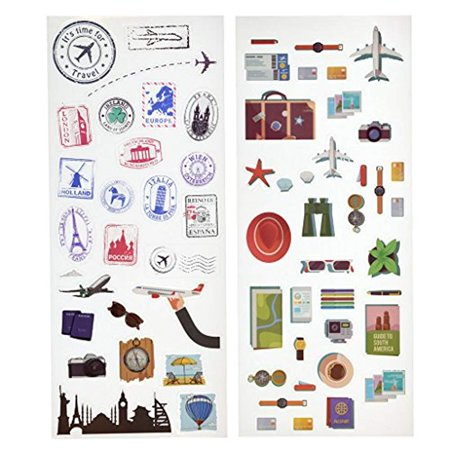 - Kodak Colorful & Decorative Travel Stickers For 2x3 Photo Paper (Printomatic, Mini Shot, Mini 2) - 2 Unique Sheets