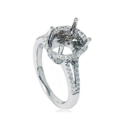 Halo Diamond Engagement Ring Setting Vintage Semi Mount for Oval 10x8mm 14k WG
