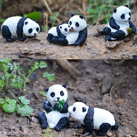 Panda Shape (Mini Resin Panda Shape Landscape Ornament for Garden Flowerpot)