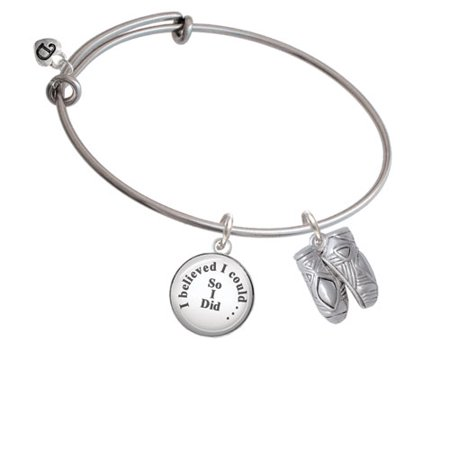 Large Ballet Slippers - I Believed I Could So I Did Glass Dome Bangle Bracelet - Glass Slippers Are So Back