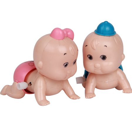 Micelec Cute Windup Crawling Crawl Boy Girl Doll Toy Birthday Gift for Baby Kid Child (Wind Up Doll)