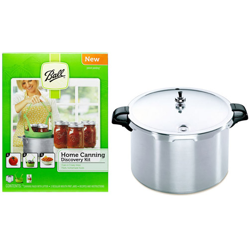 Presto 16-Quart Aluminum Pressure Canner and canning kit