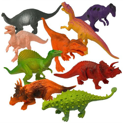Prextex Realistic Looking 7 Dinosaurs Pack of 12 Large Plastic Assorted Dino... Dinosaurs