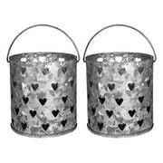 Amber Home Goods Decorative Multi Heart Metal Votive Candle Holder (Set of 2)