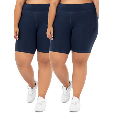 Athletic Works Women's Plus Size Active 2-Pack Bike Shorts Bundle