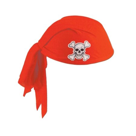 Club Pack of 12 Red Pirate Scarf Hats with Skull and Crossbones - Child Size - Kids Pirate