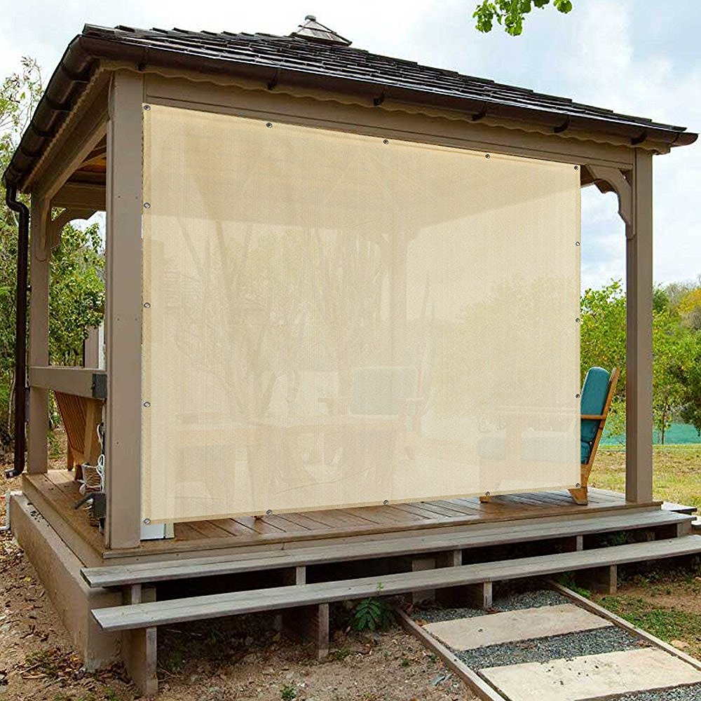Alion Home Banha Beige Sun Shade Privacy Panel with Grommets on 4 Sides for Patio, Awning, Window, Pergola or Gazebo  10' x 12'