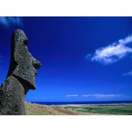 Traditional Rock (Traditional Moai Carved Form Soft Volcanic Rock at Rano Raraku, Easter Island, Valparaiso, Chile Print Wall Art By Brent Winebrenner )