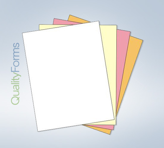 "8-1/2 x 11"" Laser Carbonless  4 Part Paper - Ream - Straight"