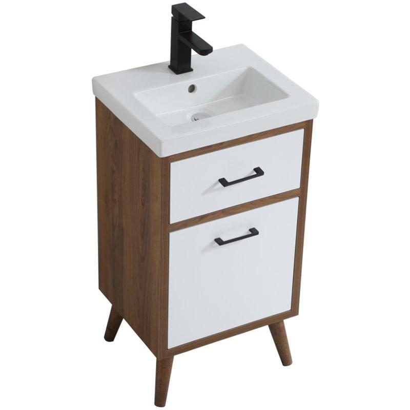Elegant Decor Boise 18 Porcelain Top Bathroom Vanity In Matte White Walmart Com Walmart Com