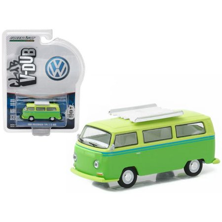 T2 Bus - 1 by 64 1968 Volkswagen Type Two T2 Bus with Roof Rack Diecast Model Car, Green
