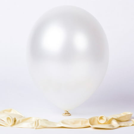 25 Pearl White Latex Balloons Helium Quality Birthday Wedding Party Decorations - White Balloons With Glow Sticks