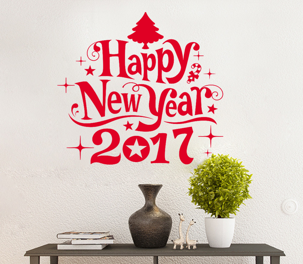 New Year 2017 Merry Christmas Wall Sticker Home Decoration Shop Windows  Decals
