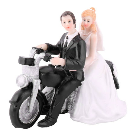 Unique Bargains Wedding Resin Bride Groom Motorcycle Driving DIY Craft Cupcake Decor Cake Topper - Brunette Bride Cake Topper