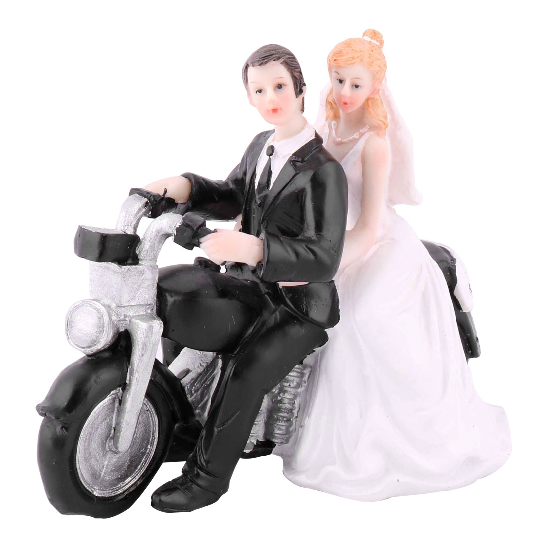 Unique Bargains Wedding Resin Bride Groom Motorcycle Driving DIY Craft Cupcake Decor Cake Topper