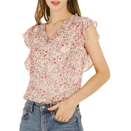 Allegra K Junior's Ruffle Blouse V Neck Cap Sleeves Floral Tops