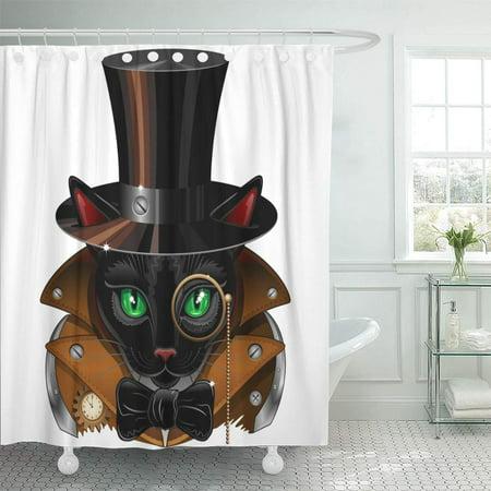 PKNMT Green Animal Steampunk Black Cat Portrait Elegant Eyes Feline Graphic Hat Waterproof Bathroom Shower Curtains Set 66x72 inch ()