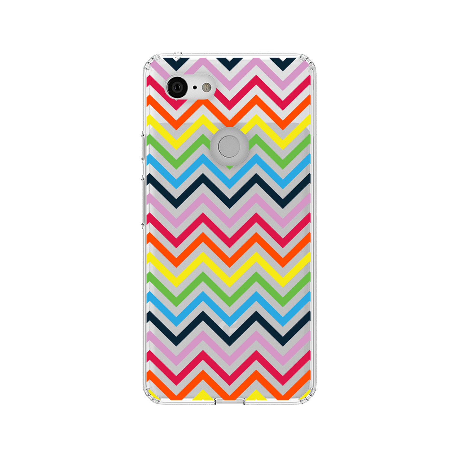 """DistinctInk Clear Shockproof Hybrid Case for Google Pixel 3 (5.5"""" Screen) - TPU Bumper, Acrylic Back, Tempered Glass Screen Protector - Rainbow Chevron"""