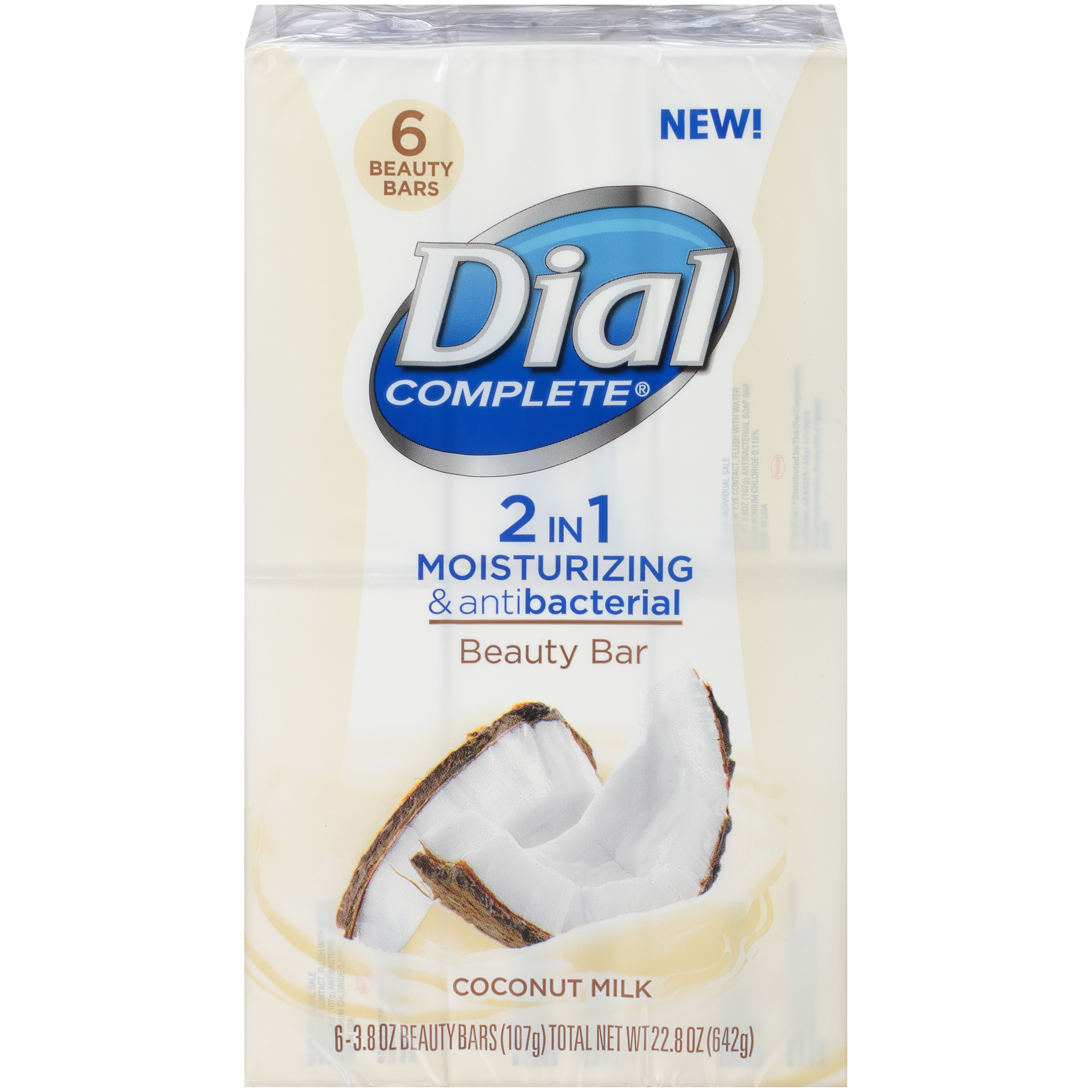 Dial Complete 2 in 1 Moisturizing & Antibacterial Beauty Bar, Coconut Milk, 3.8 Ounce, 6 Bars