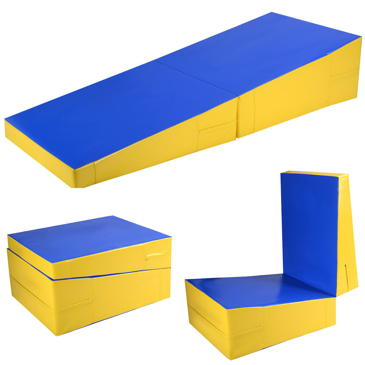 Costway Folding Incline Mat Slope Cheese Gymnastics Gym E...