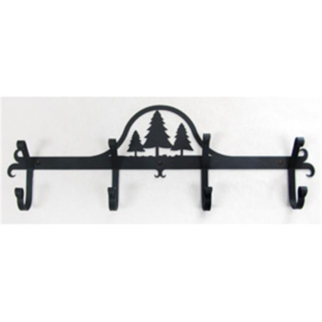 Village Wrought Iron Cb 20 Wall Mounted Coat Rack Hooks Pine Trees