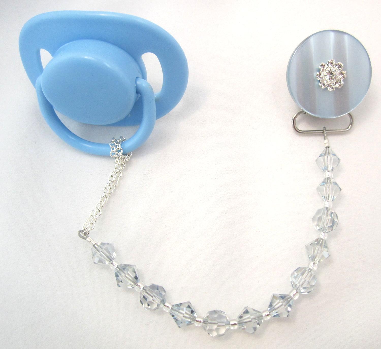 Sparkly Pacifier Clip with Swarovski Crystals