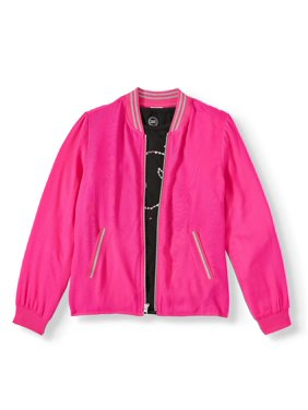 Wonder Nation Challis Bomber Jacket and Graphic T-Shirt, 2-Piece (Little Girls, Big Girls & Plus)