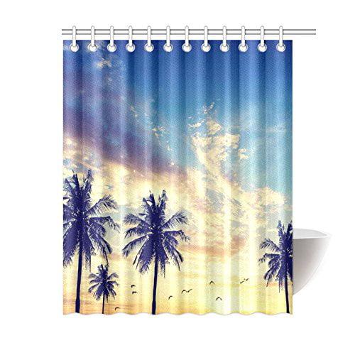 GCKG Dusk Summer Beach Shower Curtain Nature Island Coastal Palm Tree Polyester Fabric Bathroom Sets With Hooks 60x72 Inches