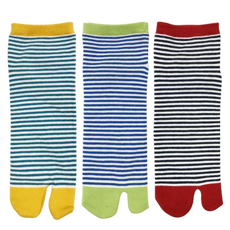 Wrapables® Tabi Flip-Flop Socks (Set of 3), Stripes (Stripes Hand Painted 3 Top)