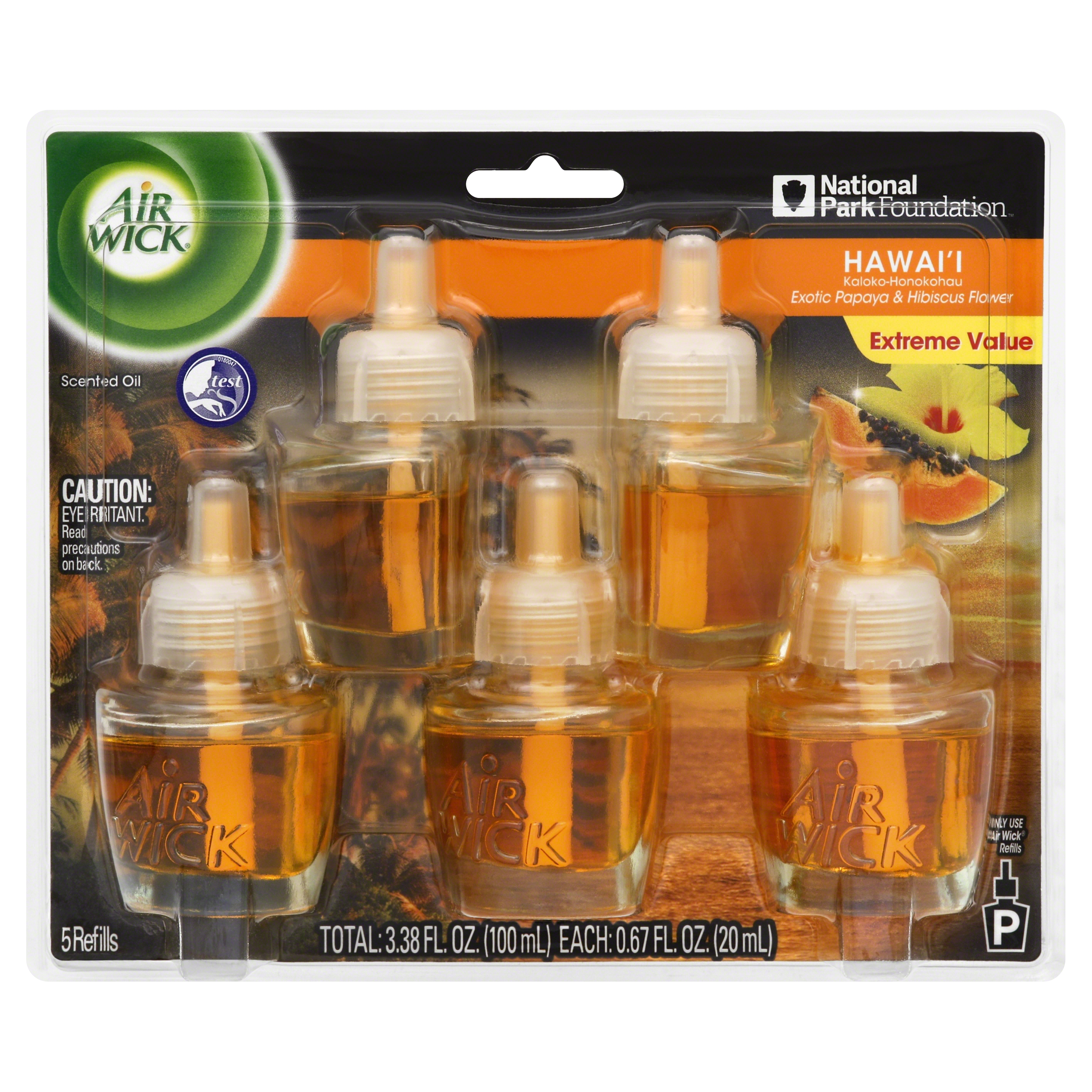 Air Wick Scented Oil Refill, Hawaii Exotic Papaya & Hibiscus Flower, 5 refills