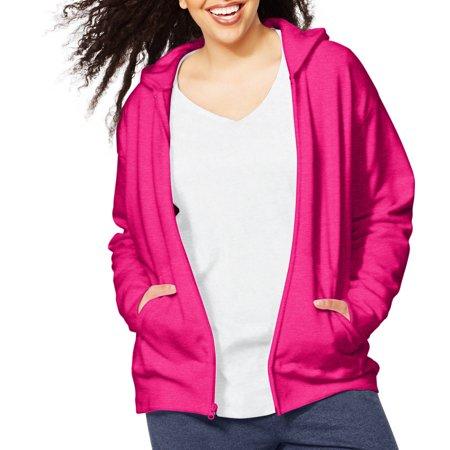 Womens Plus Size Fleece Zip Hood Jacket