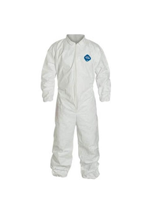 Dupont 251-TY125SWHMD002500 White Zipper Front Elastic Wrist & Ankle Coverall - Medium