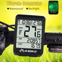 Bicycle Odometer Professional Wireless Waterproof Backlight Cycling Bike Digital Computer Speedometer LCD Stopwatch Day-Night Backlight For Outdoor Sports,Black