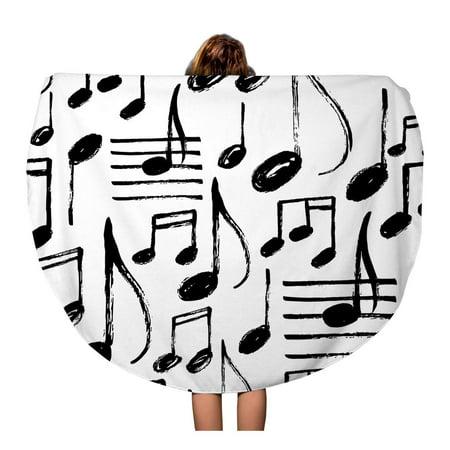 POGLIP 60 inch Round Beach Towel Blanket Pattern Music Notes Kid Song Rock Drawn Brush Doodle Travel Circle Circular Towels Mat Tapestry Beach Throw - image 1 of 2