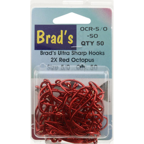 Brad's Killer Size 5/0 Octopus Hooks, Red, 50-Pack