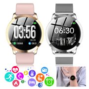 Smart Watch, EEEKit 1.22 Inch Tempered Glass Screen Bluetooth Watch with Heart Rate Sleeping Monitor Pedometer Fashion Sports Band Fits for iPhone 11 Pro Max X Samsung S10 Plus Note 10, Pink/Silver