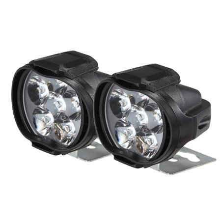 2pcs Universal LED Motorcycle Headlight Mirror Mount Driving Fog Spot Head Light Spotlight Assist Lamp ()